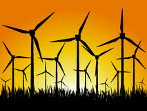Geradores e por do sol de vento Imagem de Stock Royalty Free