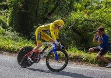 Geraint Thomas - el ganador del Tour de France 2018 Imagen de archivo libre de regalías