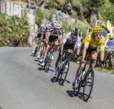 Geraint Thomas im gelben Trikot - Tour de France 2018 lizenzfreie stockbilder