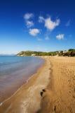 Gerakas海滩(被保护的海龟海龟乌龟筑巢地)在扎金索斯州海岛上 免版税库存图片