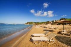 Gerakas海滩(被保护的海龟海龟乌龟筑巢地)在扎金索斯州海岛上 免版税图库摄影