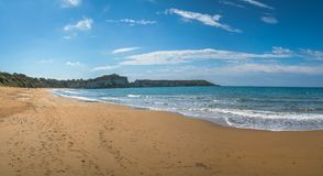 Gerakas beach panorama. Panoramic view of the Gerakas Beach which is a sea turtle nesting site summer, Zante Island, Greece stock photography