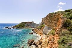 Gerakas beach sea turtle nesting site. Gerakas beach protected sea turtle nesting site.Greek island of Zakynthos royalty free stock images