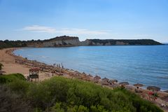 Gerakas plaża na Zakynthos wyspie, Grecja Ochraniający gniazdujący miejsce Caretta Caretta żółw zdjęcie royalty free