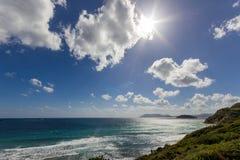 Gerakas plaża z chmurami i słońcem zdjęcia stock