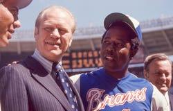 Gerald Ford et Henry Aaron Photos libres de droits