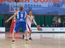 Gerald Green. SAMARA, RUSSIA - NOVEMBER 27: Gerald Green of BC Krasnye Krylia with ball attacking player of BC Irkut November 27, 2010 in Samara, Russia Stock Image