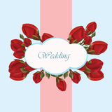 Geranium flower wedding invitation card Stock Image