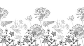 Free Geranium Flowers. Seamless Floral Pattern Royalty Free Stock Photo - 159815315