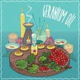 Geranium oil used for aromatherapy. Glass Flacon of Geranium oil and flowers of Pelargonium graveolens plant. Fragrances essential oil in diffuser. Natural Stock Photos