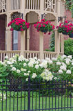 Geranium plants hanging from Gazebo Porch with Hydrangea Bushes Stock Photography