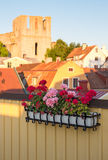Geraniums decorating a balcony in Visby, Sweden Stock Image