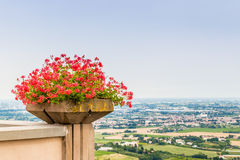 Geraniums pot and countryside of Romagna in Italy Royalty Free Stock Photos