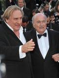 Gerard Depardieu u. Sepp Blatter Stockbilder