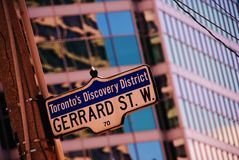 Gerard  one of the famous streets in Toronto. A sign for Gerard Street in the downtown business section of Toronto, Canada. This is one of the major streets in Royalty Free Stock Photo