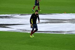 Gerard piqué warming up before a match, /Football-Soccer superstar, Fc Barcelona defenser, Spain royalty free stock photos