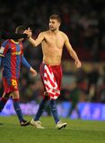 Gerard Pique of Barcelona. Pique of Barcelona after the match between FC Barcelona and Athletic de Bilbao at the Nou Camp Stadium on February 20, 2011 in Stock Photo