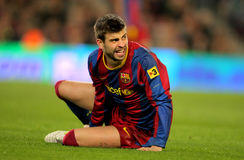 Gerard Pique of Barcelona. During the match between FC Barcelona and Real Zaragoza at the Nou Camp Stadium on March 5, 2011 in Barcelona, Spain Stock Photos