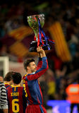 Gerard Pique of Barcelona. Celebrates holds up the trophy league at Nou Camp Stadium in Barcelona, Spain May 15, 2011 Royalty Free Stock Photography