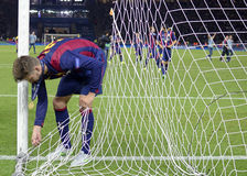 Gerard Pique. Barcelonas Pique cuts the net after the 2015 UEFA Champions League Final between Juventus Torino from Italy and FC Barcelona from Spain. The game Royalty Free Stock Images