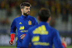 Gerard Pique. Bernabeu defender of the Spanish National Football Team, pictured during the friendly match between Romania and Spain, played at Cluj Arena Stock Photos