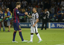 Gerard Pique and Carlos Tevez Royalty Free Stock Photography