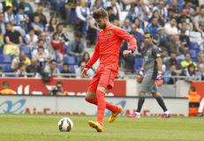 Gerard Pique of FC Barcelona. During a Spanish League match against RCD Espanyol at the Power8 stadium on April 25 2015 in Barcelona Spain Stock Photos