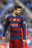 Gerard Pique of FC Barcelona. During a Spanish League match against RCD Espanyol at the Power8 stadium on January 2, 2016 in Barcelona, Spain Royalty Free Stock Image