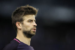 Gerard Pique of FC Barcelona. During a Spanish League match against RCD Espanyol at the RCDE Stadium on April 29 2017, in Barcelona Spain Stock Images