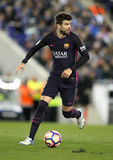 Gerard Pique of FC Barcelona. During a Spanish League match against RCD Espanyol at the RCDE Stadium on April 29 2017, in Barcelona Spain Stock Photos
