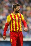 Gerard Pique of FC Barcelona. During the Spanish League match between Espanyol and FC Barcelona at the Estadi Cornella on March 29, 2014 in Barcelona, Spain Royalty Free Stock Images