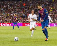 Gerard Pique. Of FCB in action at the Spanish Super Cup final match between FC Barcelona and Real Madrid, 3 - 2, on August 17, 2011 in Camp Nou stadium Stock Photography
