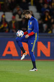 Gerard Pique  juggling with the ball. Gerard Pique Bernabeu defender of the Spanish National Football Team, pictured before the friendly match between Romania Stock Image
