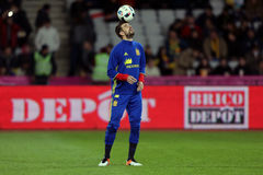 Gerard Pique  juggling with the ball. Gerard Pique Bernabeu defender of the Spanish National Football Team, pictured before the friendly match between Romania Stock Photography