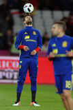 Gerard Pique  juggling with the ball. Gerard Pique Bernabeu defender of the Spanish National Football Team, pictured before the friendly match between Romania Stock Photo