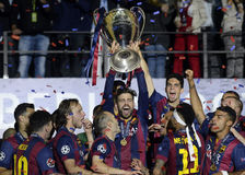 Gerard Pique lifts the UEFA Champions League Trophy Royalty Free Stock Photos