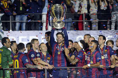 Gerard Pique lifts the UEFA Champions League Trophy Royalty Free Stock Image