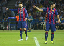 Gerard Pique and Luis Suarez Royalty Free Stock Images