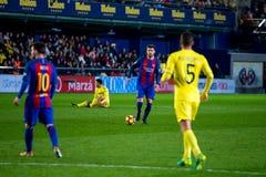 Gerard Pique plays at the La Liga match between Villarreal CF and FC Barcelona. VILLARREAL, SPAIN - JAN 8: Gerard Pique plays at the La Liga match between Royalty Free Stock Image
