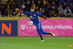 Gerard Pique during training session. Gerard Pique Bernabeu defender of the Spanish National Football Team, pictured before the friendly match between Romania Royalty Free Stock Photography