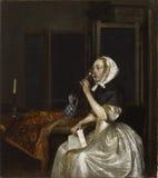 Gerard ter Borch (1617−1681): Lady seated holding a Wineglass / Viiniä juova nainen kirje kädessään / Vindrickande Royalty Free Stock Photos