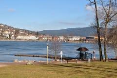 Gerardmer sjö i vinter Arkivfoton