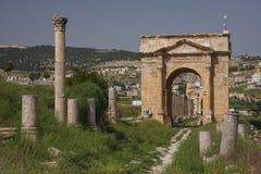 Gerasa ruins, Jerash, Jordan. Jerash is the site of the ruins of the Greco-Roman city of Gerasa Royalty Free Stock Photo