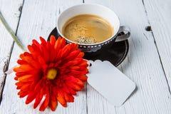 Gerber, café con la postal limpia Fotos de archivo libres de regalías