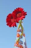 Gerber stokrotki w ręce malowali szklaną wazę, niebieskie niebo Obrazy Royalty Free