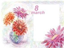 Gerbera иллюстрации карандаша предпосылки приветствию 8-ое марта в va бесплатная иллюстрация