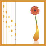 Gerbera. (African daisy), a beautiful spring flower in an orange vase against white background. Decorative ornament to the left can be turned off to make copy Stock Photo