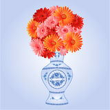 Gerbera in faience vase festive background vector. Gerbera in faience vase festive blue background vector Illustration Royalty Free Stock Photos