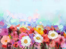 Oil painting yellow, white and red gerbera  Stock Image