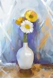 Oil painting bouquet gerbera flowers in vase Stock Image
